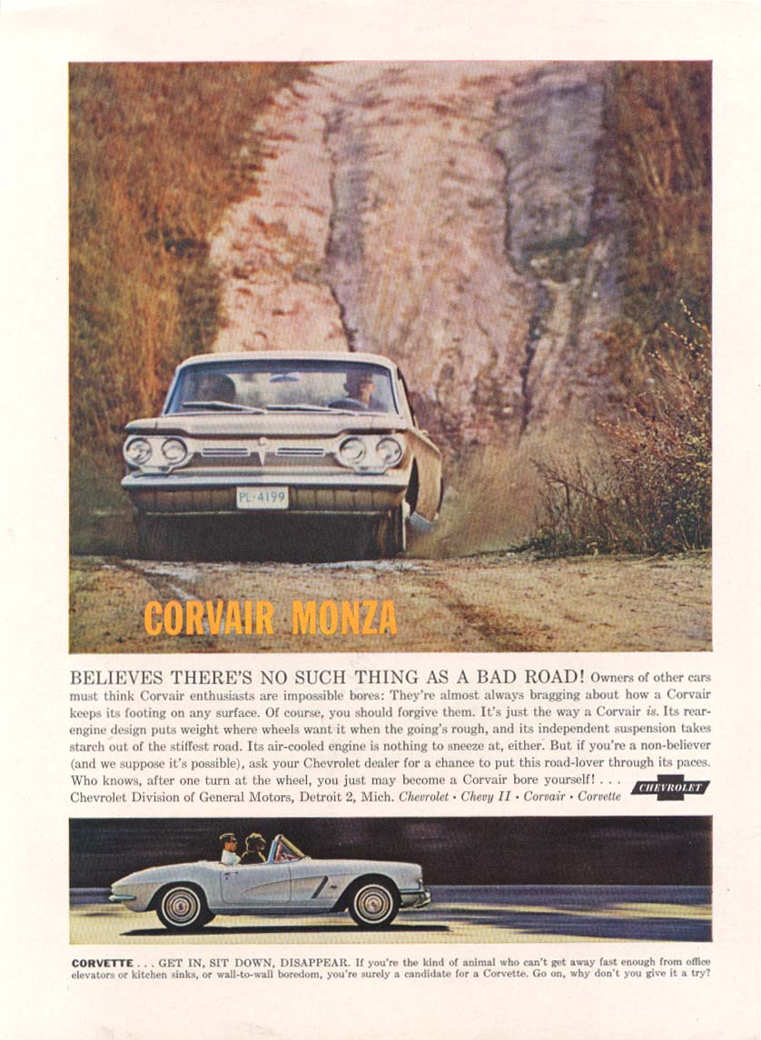 Image for No Such Thing as a Bad Road Corvair & Corvette ad 1962 New Yorker