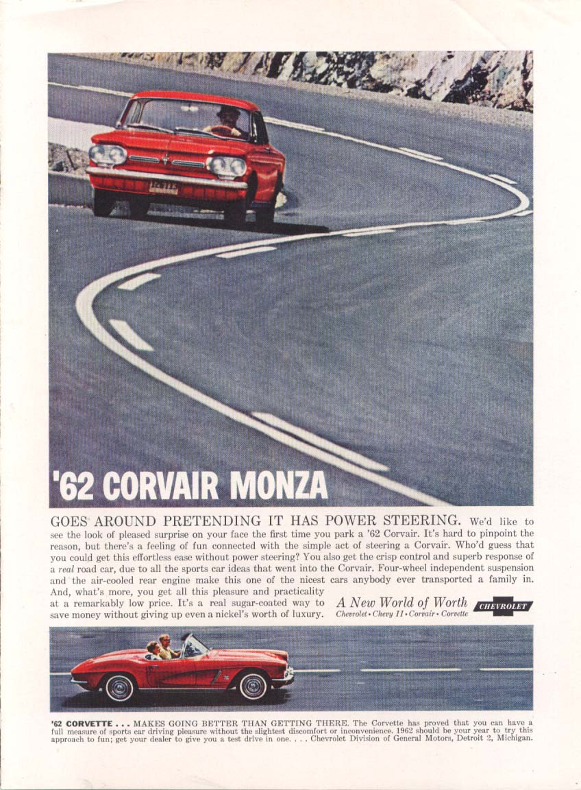 Image for Goes around pretending Corvair & Corvette ad 1962