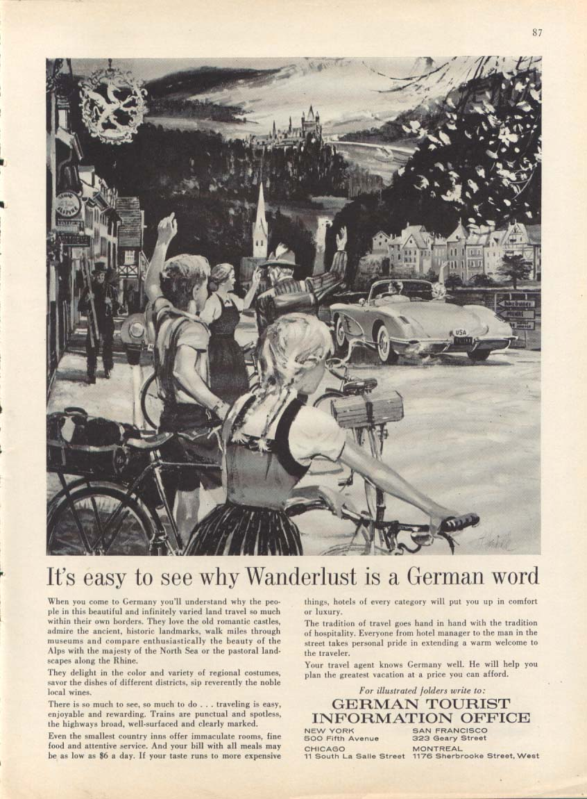 Image for Wanderlust is a German word ad w/ Corvette 1962