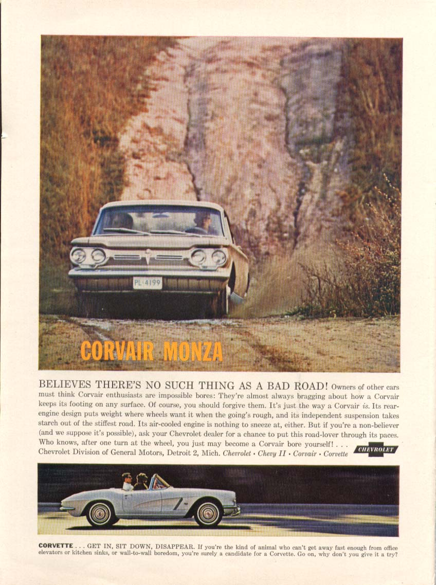 Corvair no such thing as bad road Corvette ad 1962