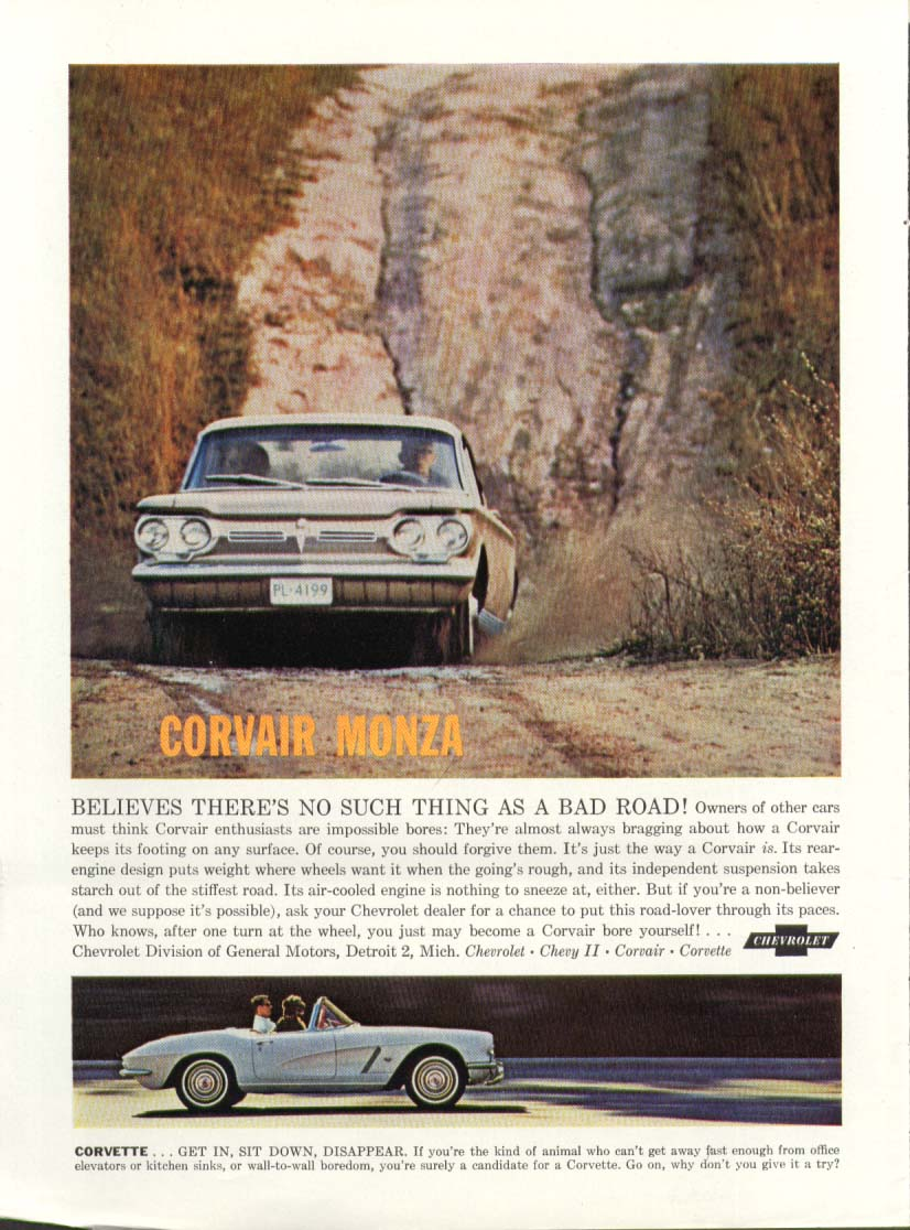 Corvette Corvair no such thing as a bad road ad 1962