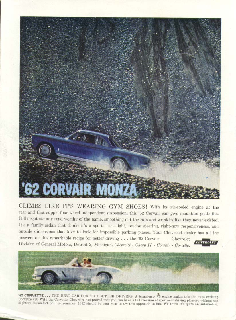 Corvette Corvair climbs like wearing gym shoes ad 1962
