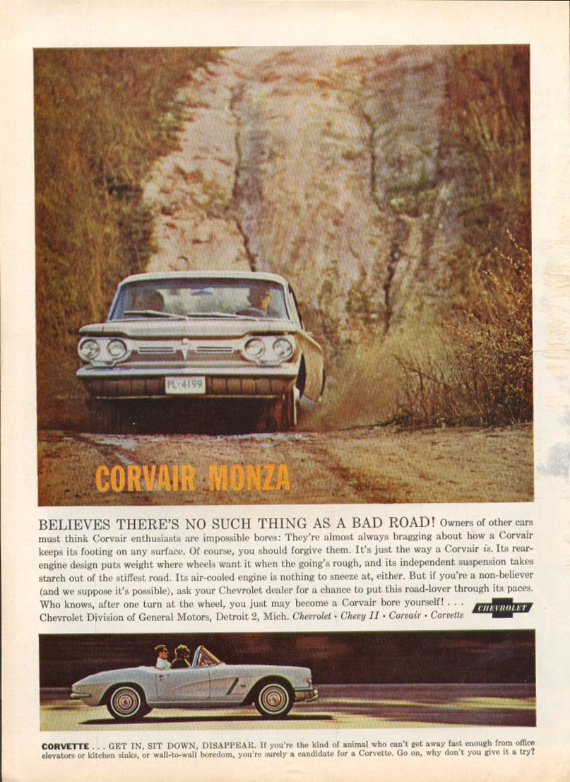Believes no such thing as bad Corvette Corvair ad 1962