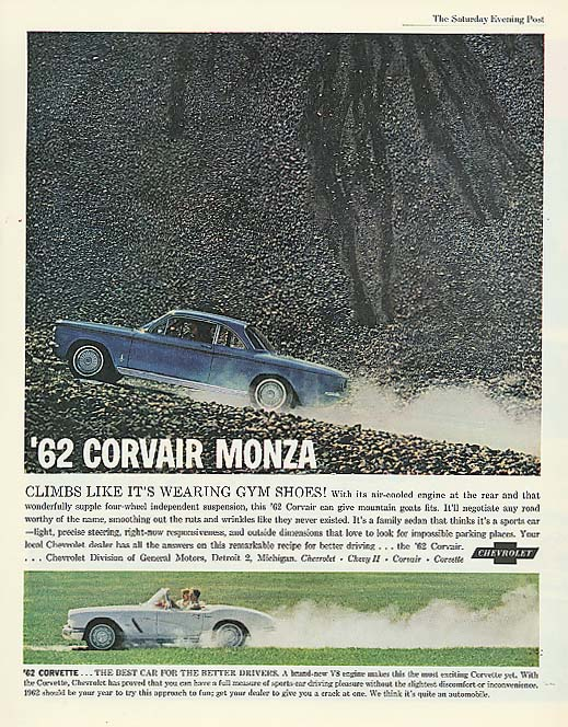 Climbs like wearing gym shoes Corvair Corvette ad 1962
