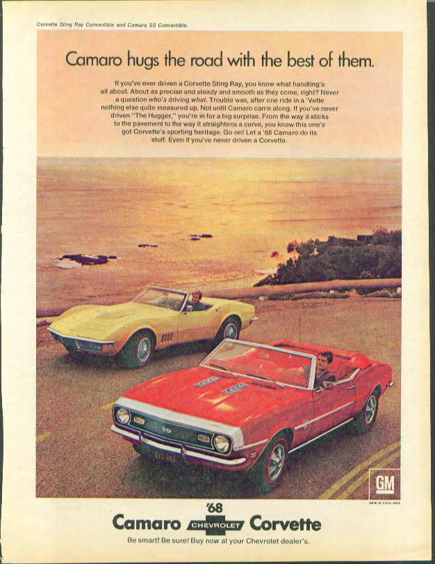 Image for Hugs the road with the best 1968 Corvette & Camaro ad