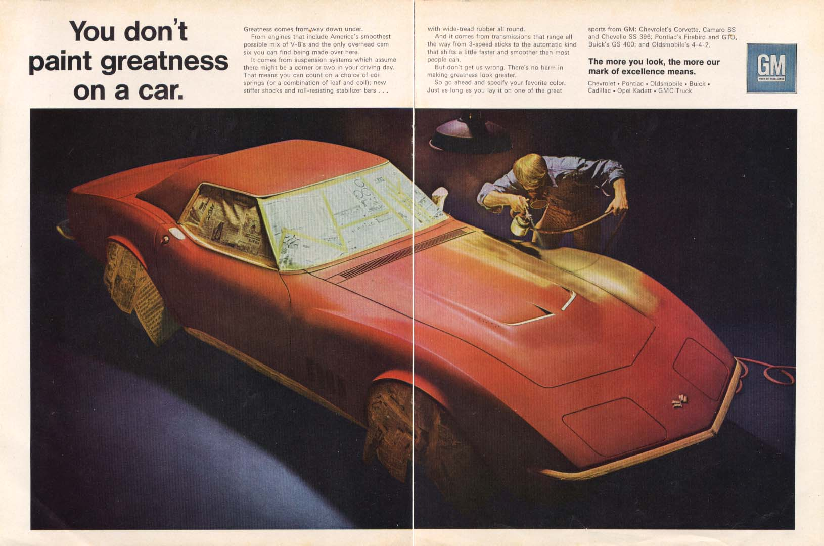 Image for You don't paint greatness on a car Corvette ad 1968 Hot Rod