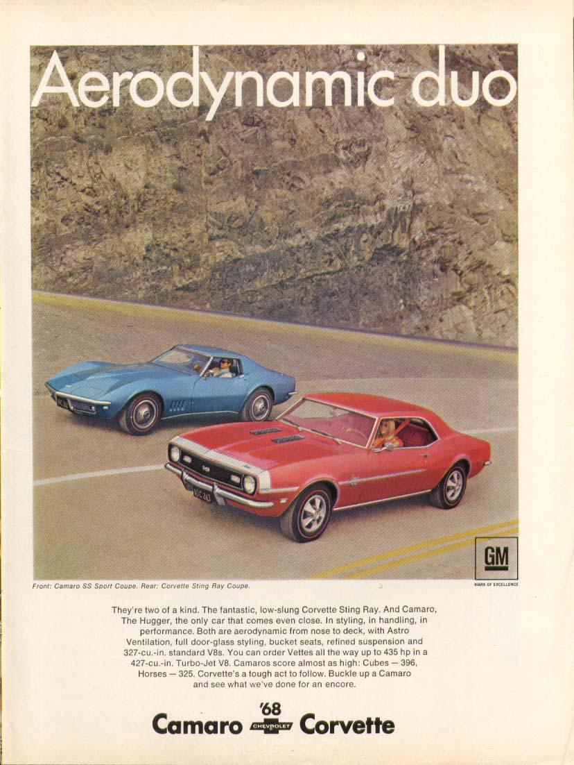 Aerodynamic duo. Camaro Corvette ad 1968