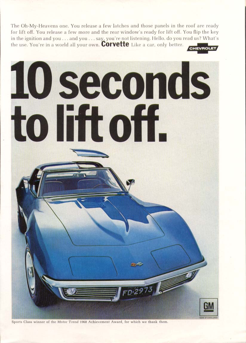 10 seconds to lift off. Corvette ad 1968 New Yorker