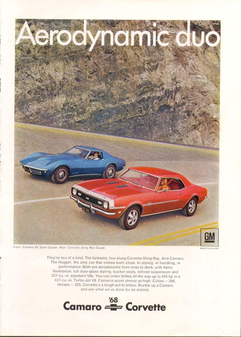 Aerodynamic duo 1968 Corvette & Camaro ad