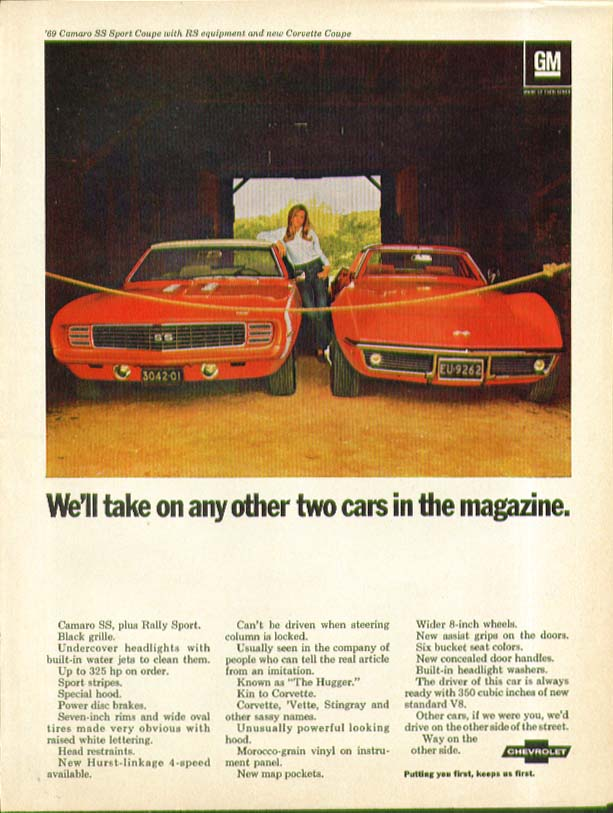 Image for We'll take any other two Camaro & Corvette ad 1969