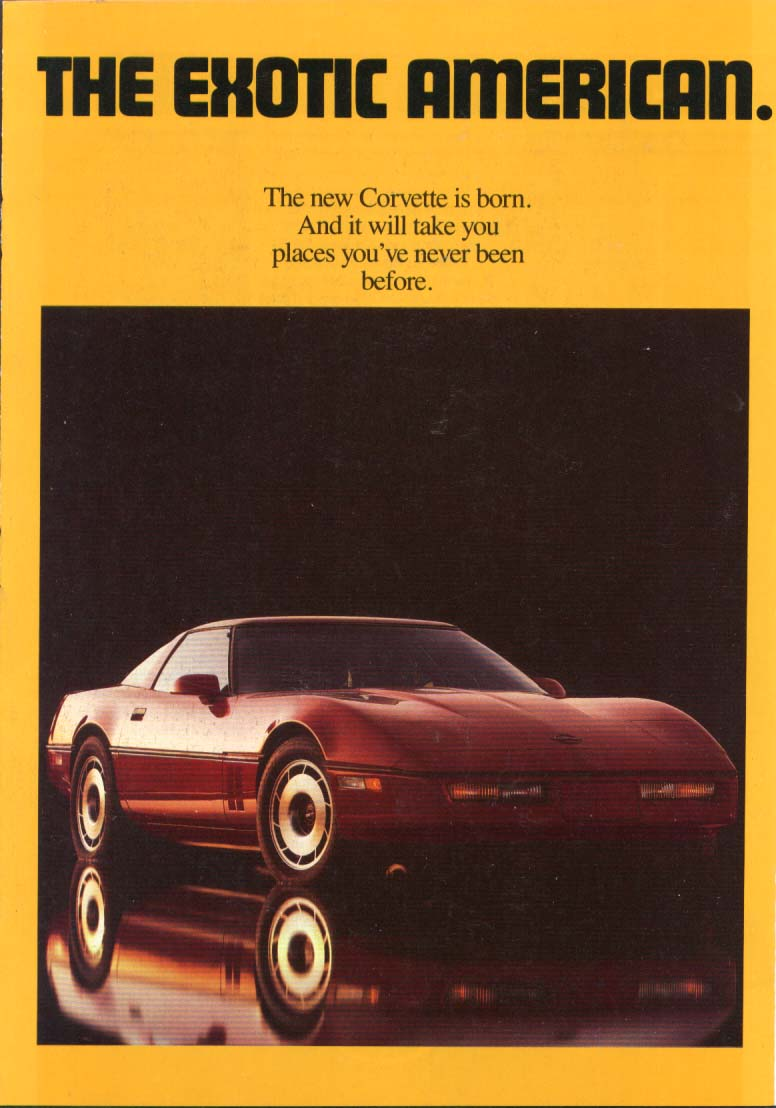Image for The Exotic American Corvette ad 1983 4-panel folder