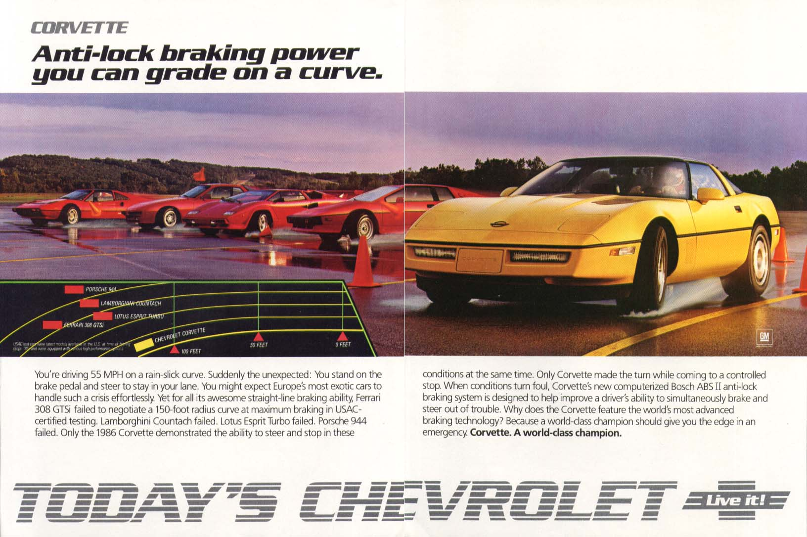 Anti-lock braking grade on a curve Corvette ad 1986 #1