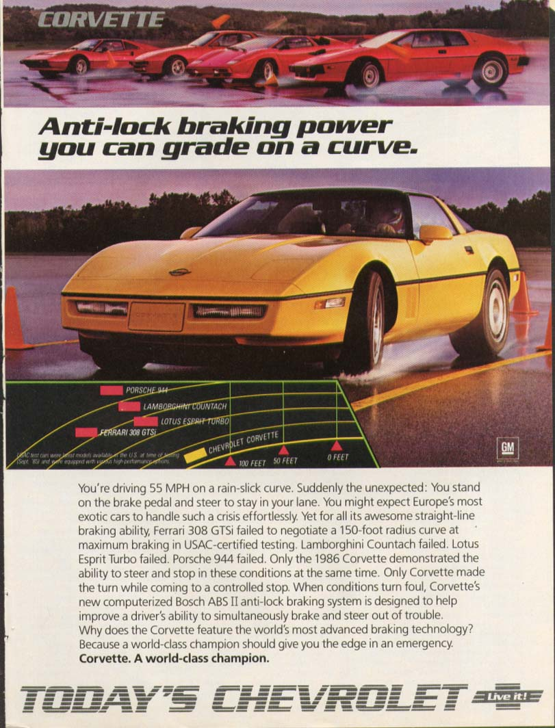 Anti-lock braking power on a curve Corvette ad 1986