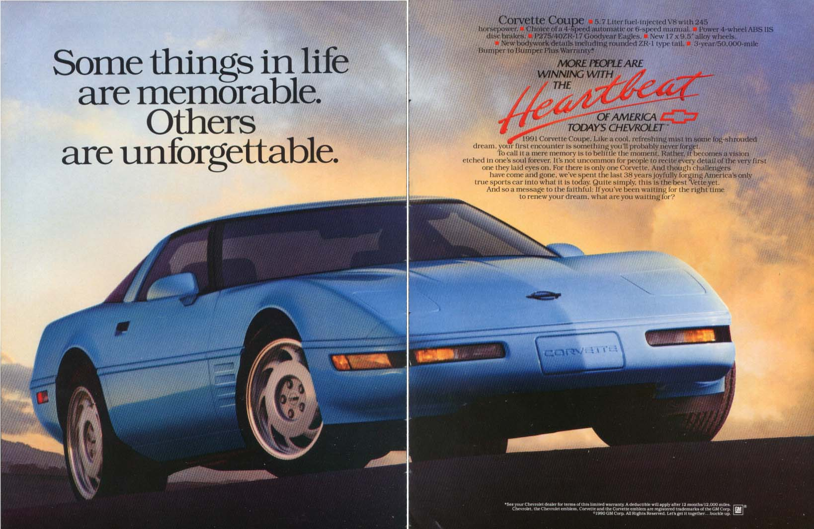 Image for Some things are unforgettable Corvette ad 1991