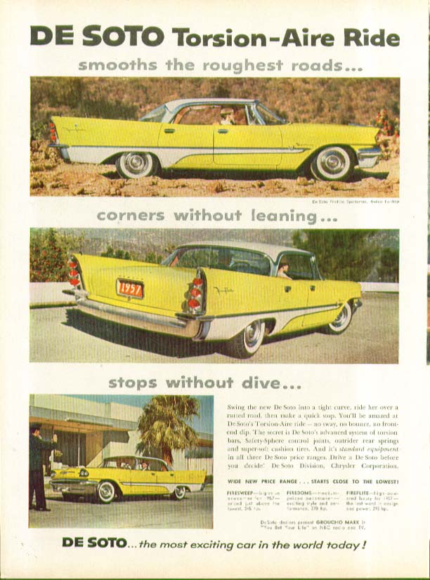 Image for DeSoto Torsion-Aire Ride corners without leaning ad 1957 De Soto