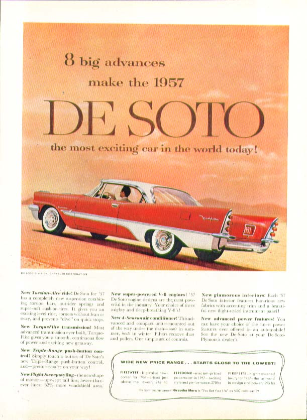 Image for 8 big advances make the 1957 DeSoto most exciting car in the world! Ad De Soto