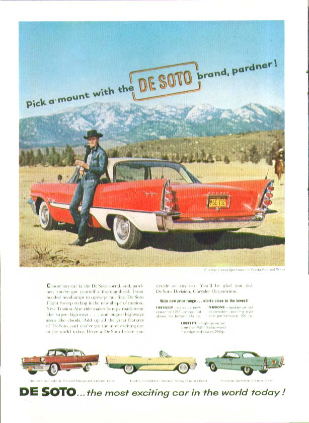 Image for Pick a mount with the DeSoto brand, pardner! Ad 1957 De Soto
