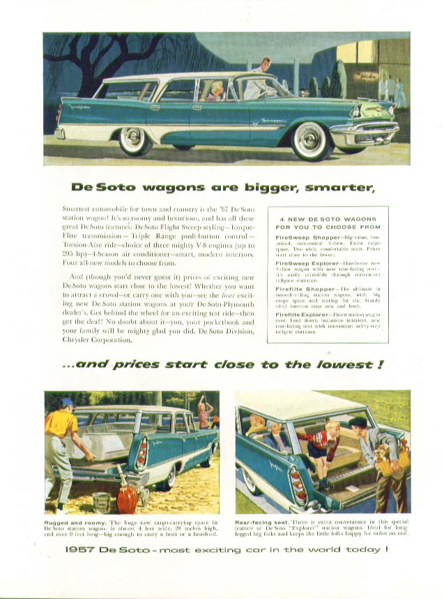 Image for DeSoto wagons are bigger, smarter & prices close to the lowest! Ad 1957 De Soto