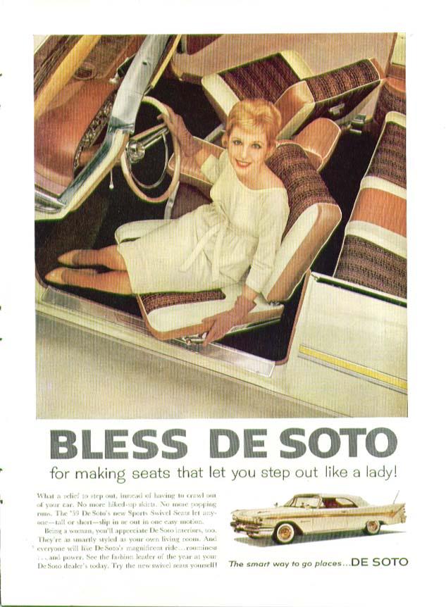 Bless DeSoto Adventurer for seats that let you out like a lady! Ad 1959 De Soto