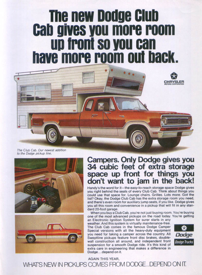 Dodge Club Cab Camper more room up front ad 1970