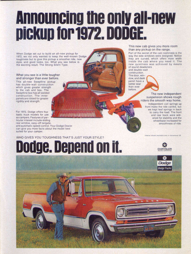 Image for Dodge all-new pickup Depend on it ad 1972