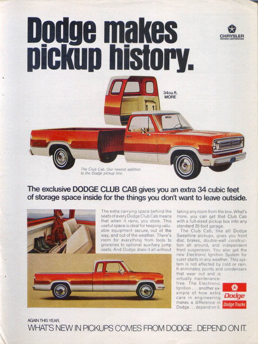 Image for Dodge makes pickup history Club Cab ad 1973
