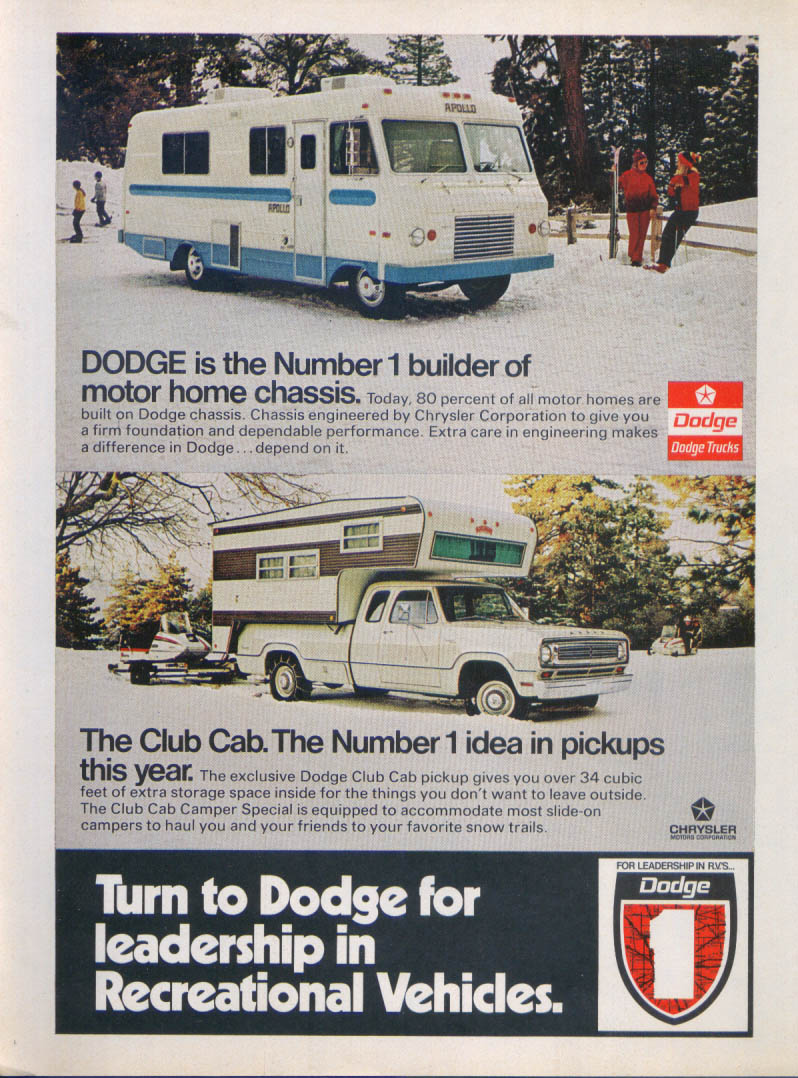 Dodge Club Cab Number 1 idea RV leadership ad 1973