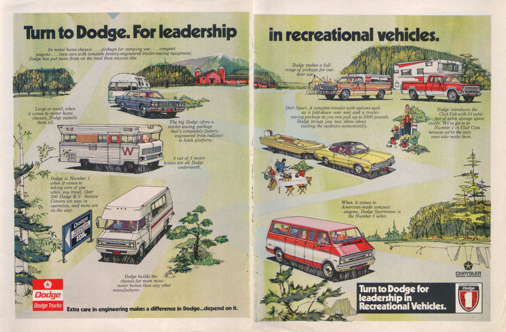 Image for Dodge leadership recreational vehicle Sportsman ad 1973