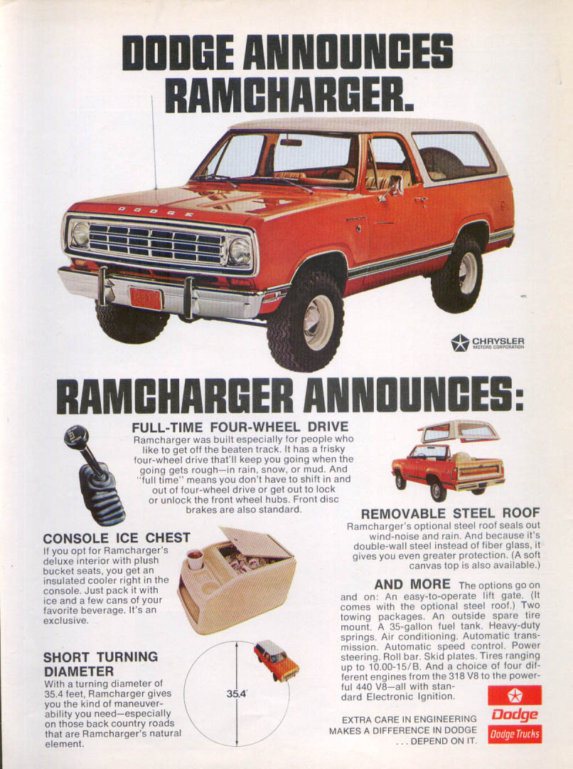 Dodge Ramcharger Announces ad 1974