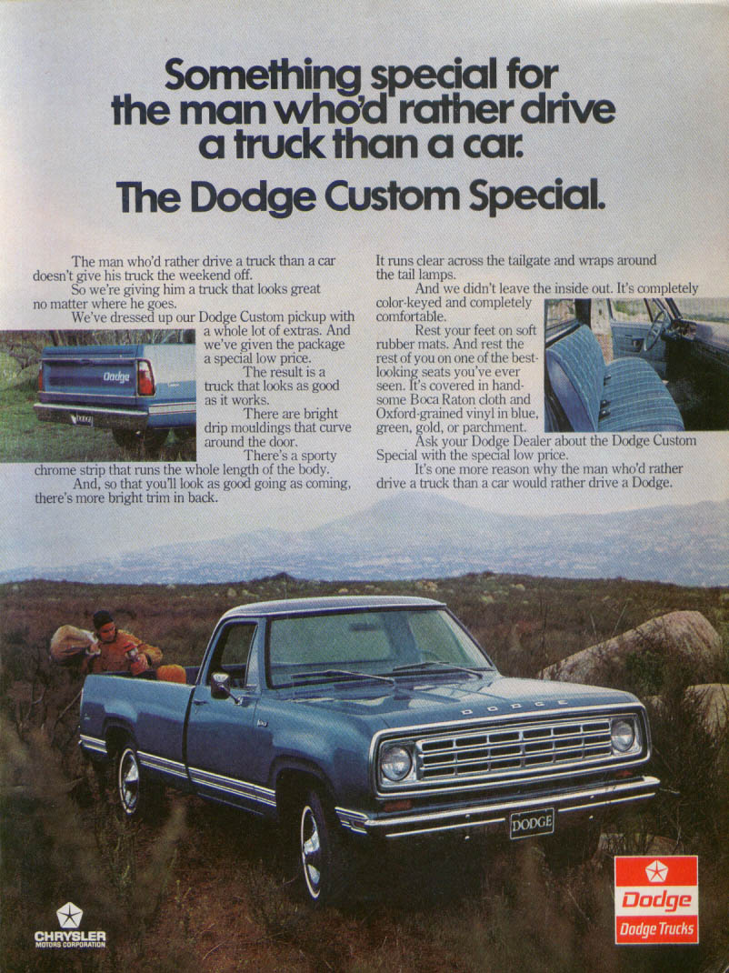 Image for Dodge Custom Special man rather drive a truck ad 1975