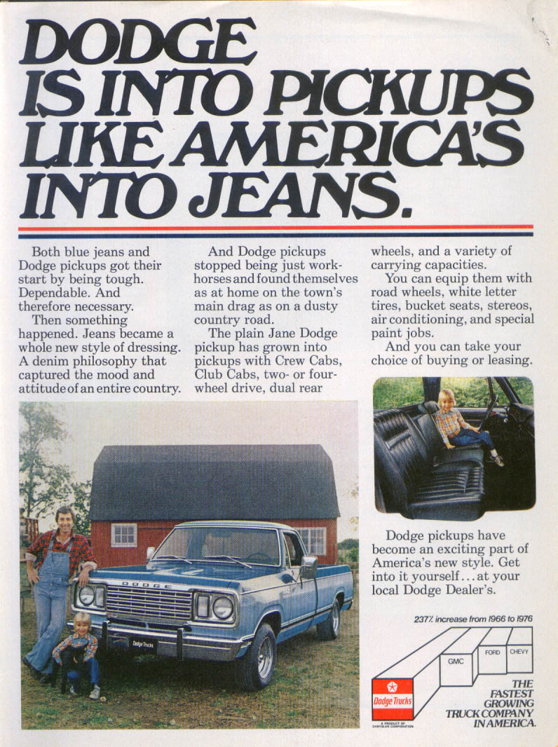Image for Dodge Pickups Tough Like Blue Jeans ad 1978