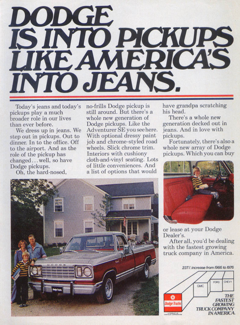 Image for Dodge Into Pickups Like America's Into Jeans ad 1978
