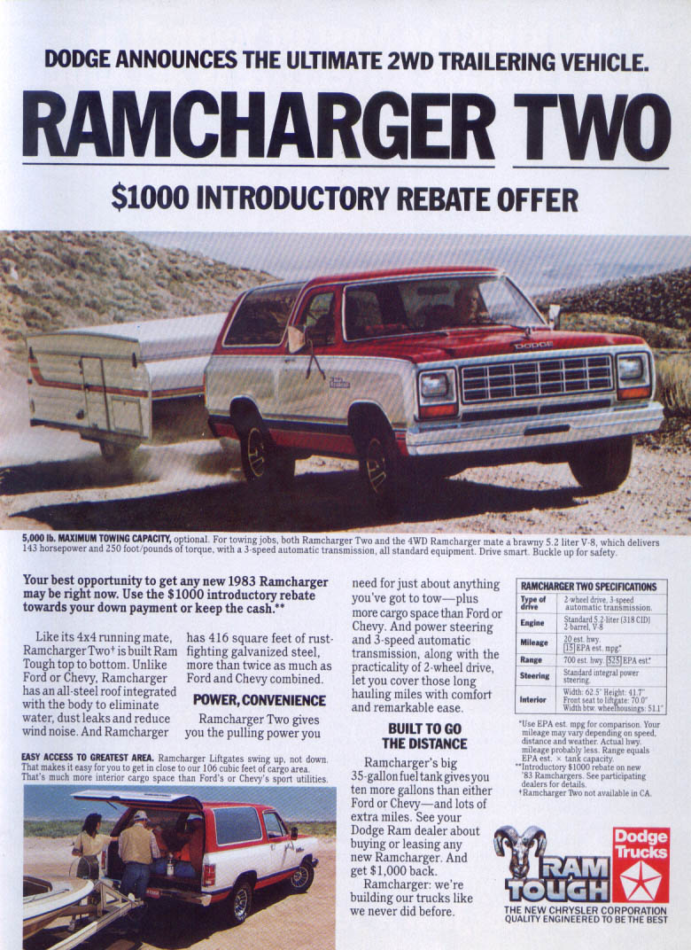 Image for Dodge Ramcharger Two ad 1983