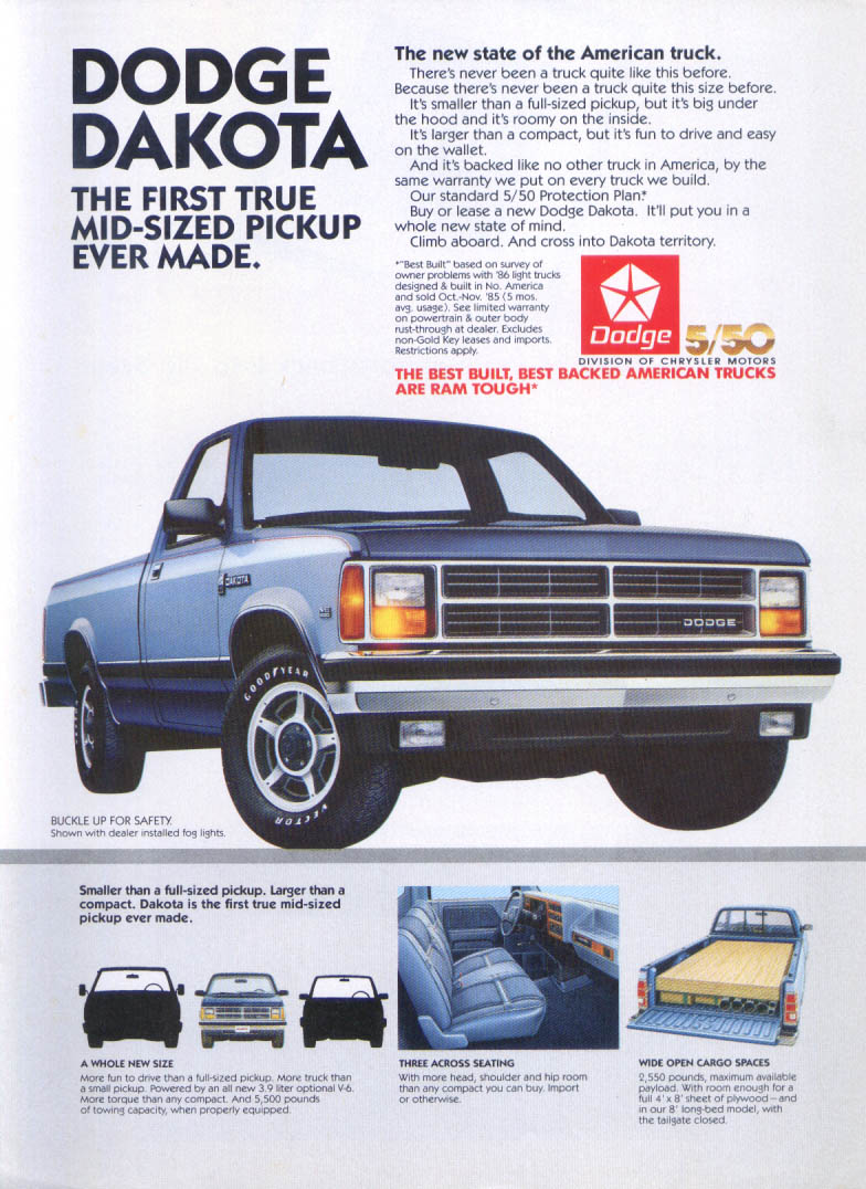 Image for Dodge Dakota First True Mid-Sized Pickup Ever ad 1987