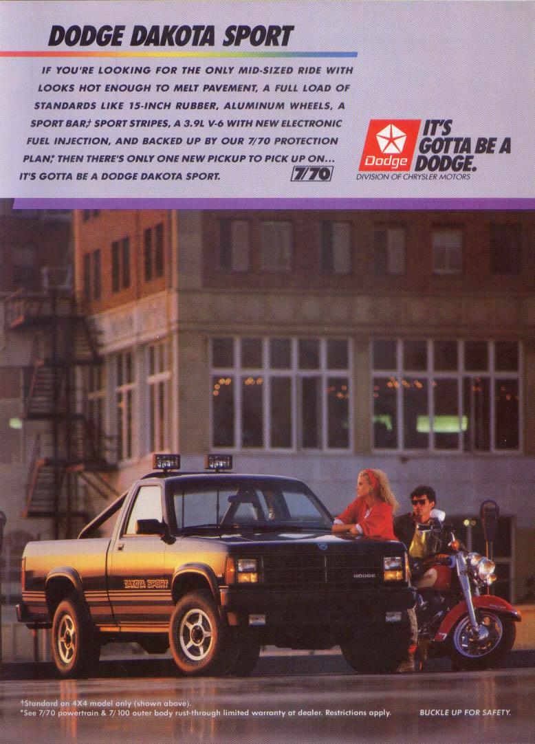 Image for Dodge Dakota Sport pickup hot looks ad 1988