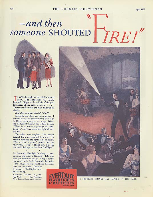 Then someone shouted FIRE! Eveready Flashlight ad 1927