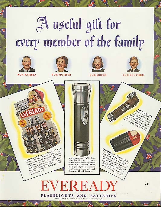 Useful Gift for the family Eveready Flashlight ad 1940