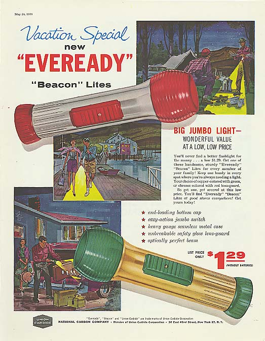 Vacation Special Eveready Beacon Flashlight ad 1958