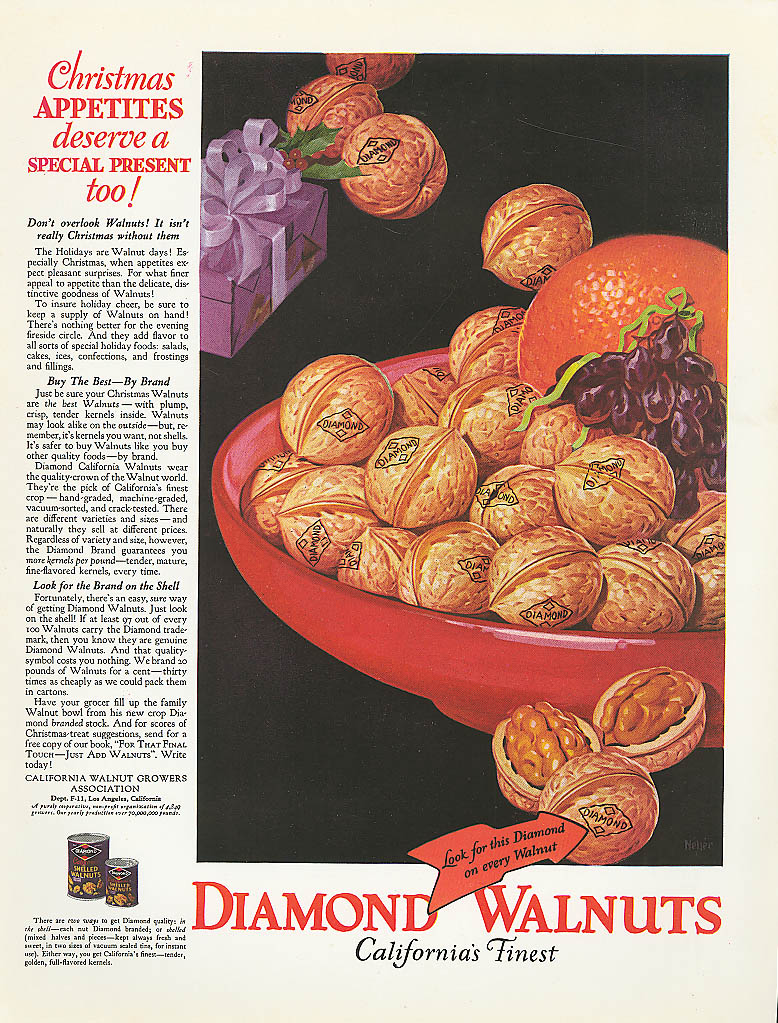 Image for Christmas Appetites deserve Diamond Walnuts ad 1928