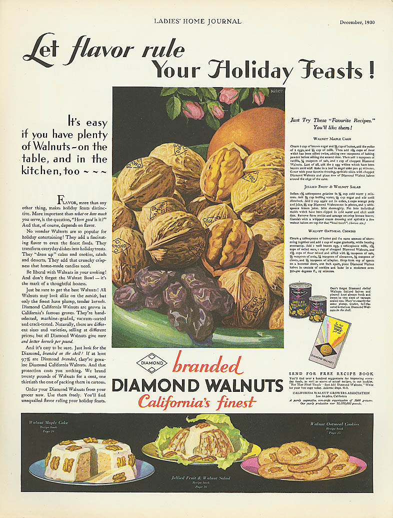 Image for Let Flavor Rule Holiday Feasts Diamond Walnuts ad 1930