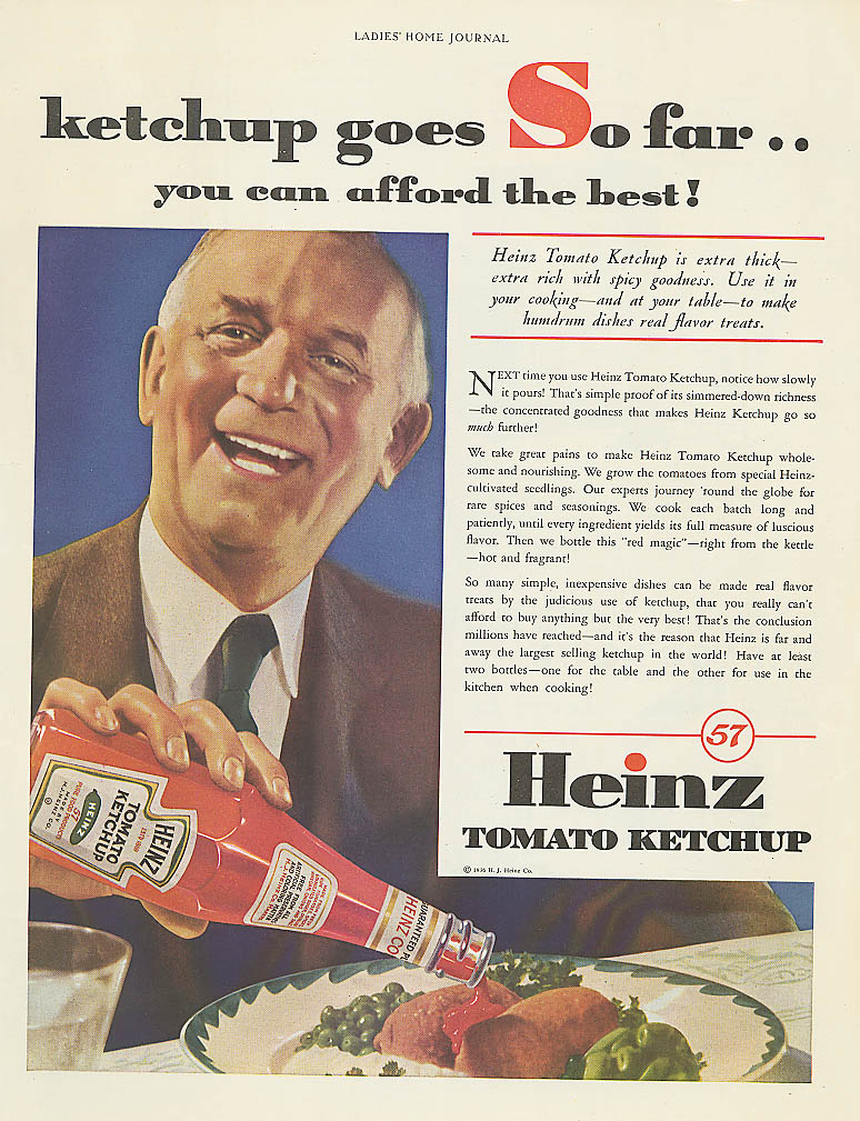 Image for Ketchup goes far you can afford the best Heinz ad 1936