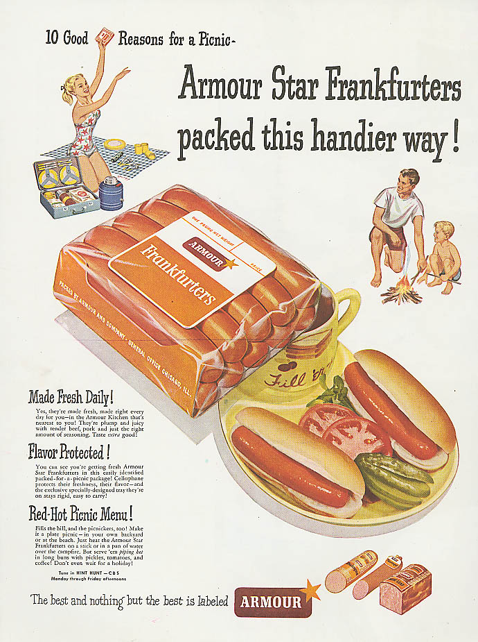 Armour Star Frankfurters picnic packed ad 1948