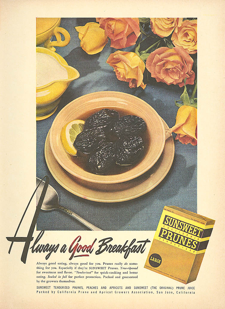 Always a Good Breakfast Sunsweet Prunes ad 1950