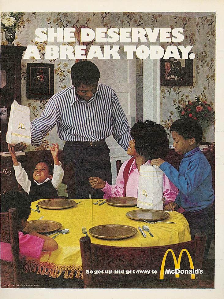 Image for She Deserves a Break Today McDonald's ad 1971 negro