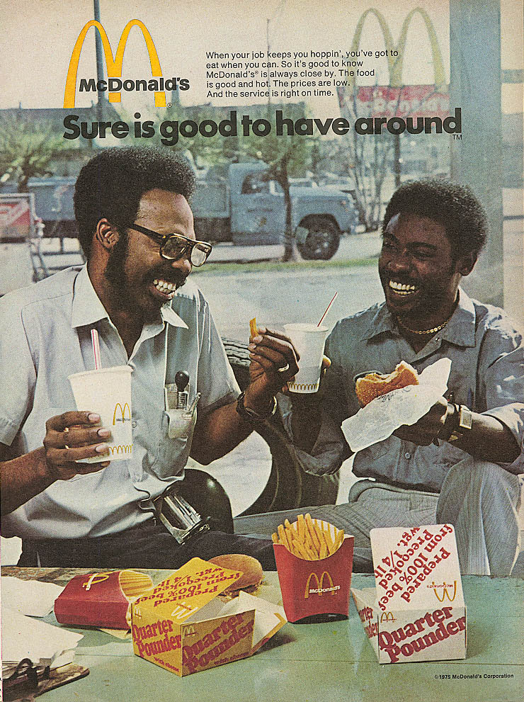 Image for Sure is good to have around McDonald's ad negro 1975