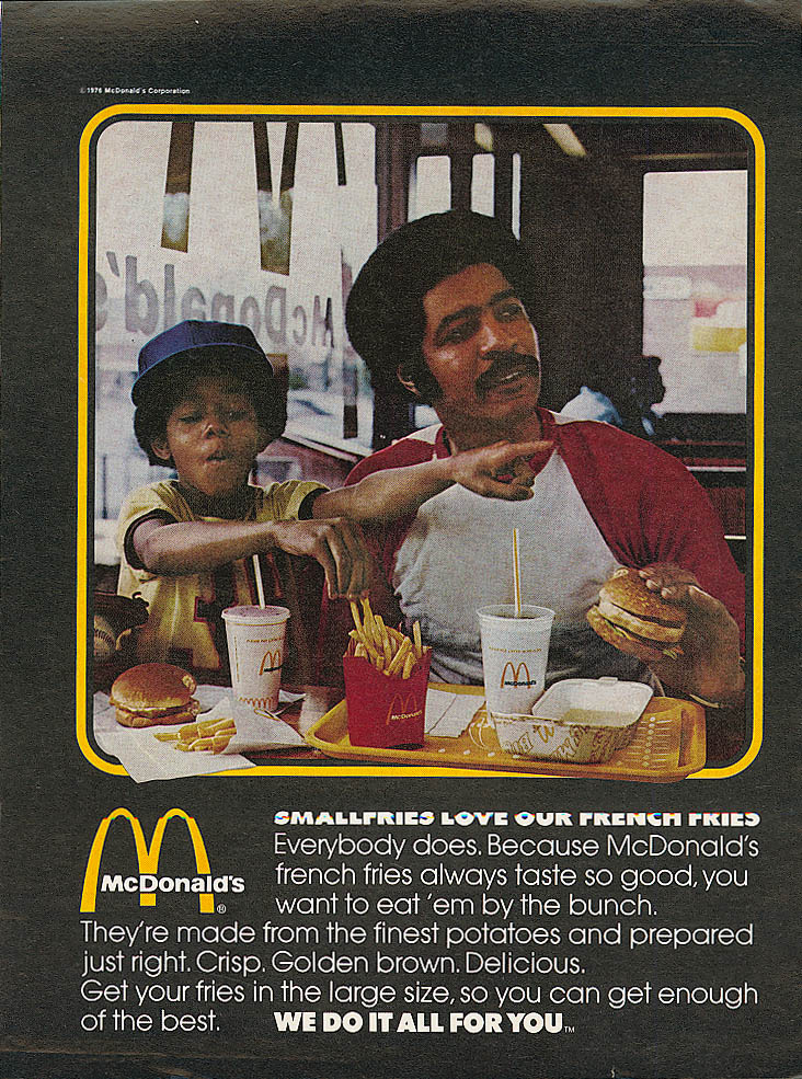 Image for Smallfries love French Fries McDonald's ad 1976 negro