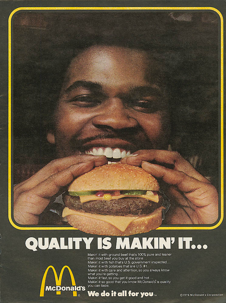 Image for Quality is Makin' It . . . McDonald's ad 1976 negro