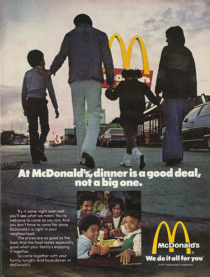 Image for Dinner good deal not a big one McDonald's ad 1977 negro