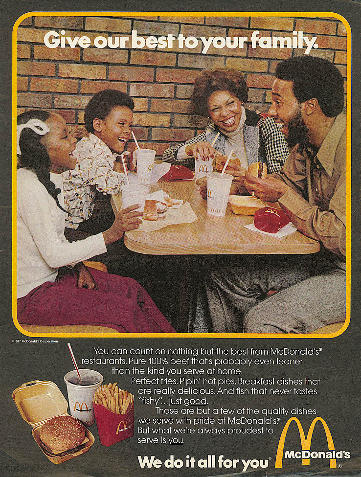 Image for Give our best to your family McDonald's ad 1977 negro