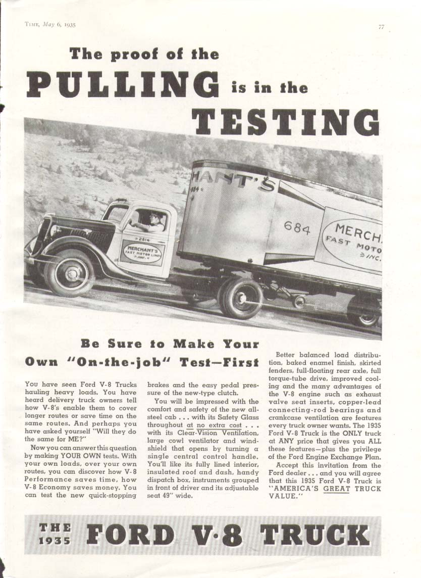 Image for Ford V8 truck proof of Pulling is in Testing ad 1935